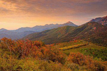 Poster Crimson Autumn sunrise in the Southern Wasatch Mountains, Utah, USA.