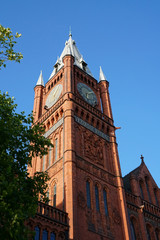 University of Liverpool view in sunny autumn weather with clear blue sky