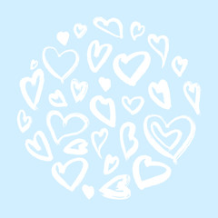 Heart ink illustrations, circle structure hearts, hearts backgrounds with glam rock style.