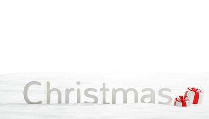 christmas snow with christmas presents 3d-illustration