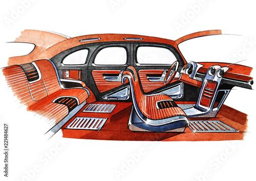 Illustration Of A Retro Car Interior Design Project Stock Photo