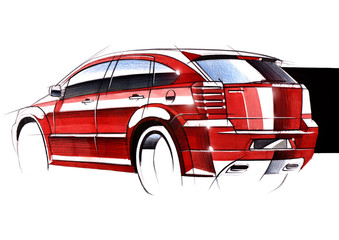 Illustration of a sketch car on a white background.