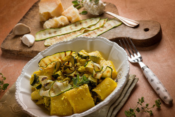 pasta with grilled zucchinis parmesan cheese and ricotta cheese