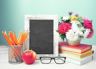 Teachers day,empty copy space blackboard frame.
