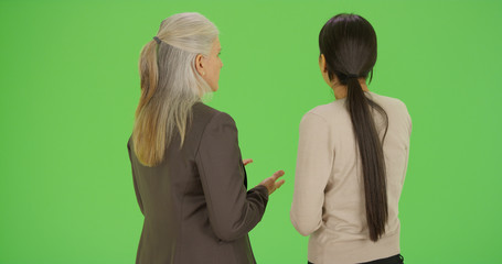 Two businesswoman talk about work on green screen