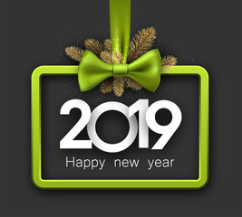 Grey 2019 happy New Year background with green frame and bow.