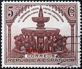 Courtyard of Lions in Granada on spanish postage stamp