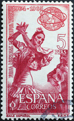 Flamenco dancer on old spanish postage stamp