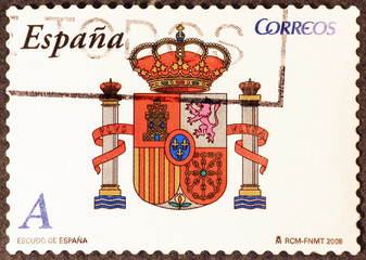 Spanish coat of arms on postage stamp