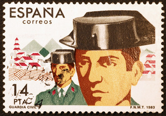 Two spanish policemen on vintage postage stamp