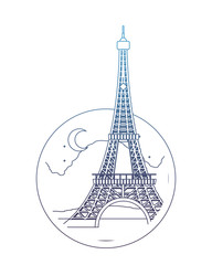 degraded line eiffel tower paris at night with moon