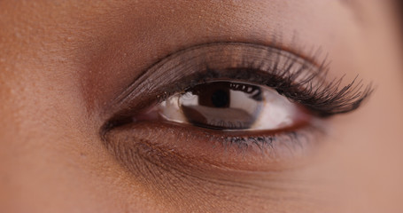 Extreme closeup shot of lovely African American female's eye