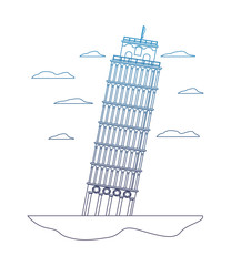 degraded line leaning tower of pisa architecture and clouds