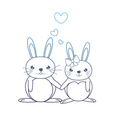 degraded line cute couple rabbit animal with hearts