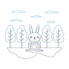 degraded line male rabbit with sweet donut in the landscape