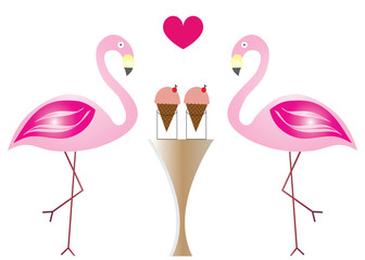 two flamingos in love eating ice cream vector - Valentines day illustration