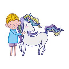 cute boy with beauty unicorn animal