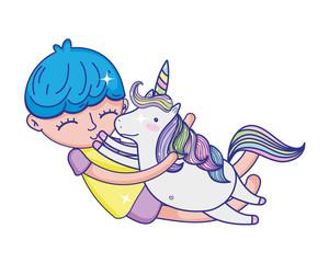 happy boy hugging nice unicorn