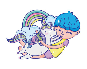 boy hugging unicorn with rainbow and clouds