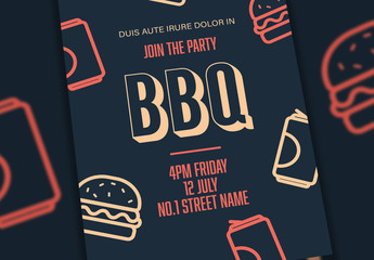 Event Flyer Layout with Barbeque Illustrations