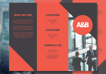 Business Trifold Layout with Orange Elements