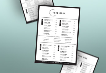 Black and White Menu Layout