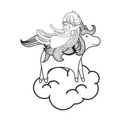 line sleeping girl with beauty unicorn in the cloud