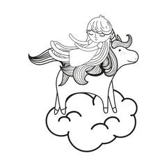 line sleeping girl with beauty unicorn in the cloud