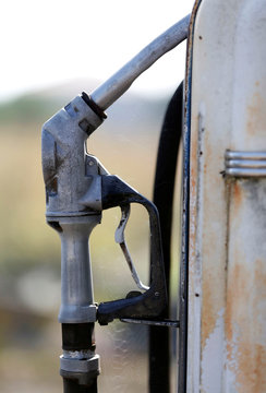 A rusted fuel pump is pictured at an old abandoned fuelling station in Damazan