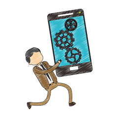 Businessman holding smartphone scribble