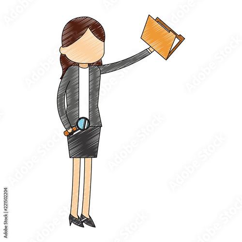 Businesswoman avatar cartoon scribble