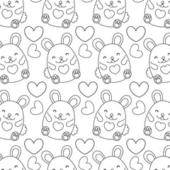 line cute female mouse and heart background