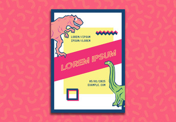 Event Flyer Layout with Dinosaur Illustrations