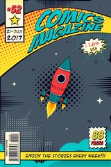 Comic book cover. Concept elements of the space.