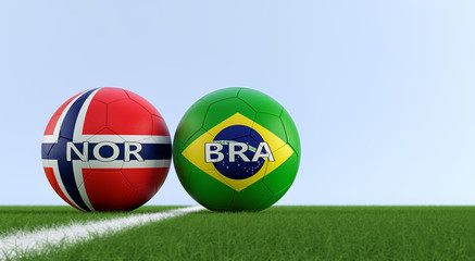 Norway vs. Brazil Soccer Match - Soccer balls in Norway and Brazil national colors on a soccer field. Copy space on the right side - 3D Rendering