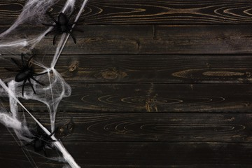 Halloween spider web side border against a dark wooden background with copy space