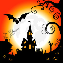 Halloween night, grunge background with Moon and bats, illustration