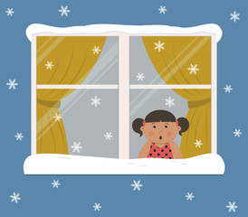 Window with yellow curtains on a snowy day. A cute little girl in the room looks at the snow in surprise. View from the street side. Winter background. Vector illustration.