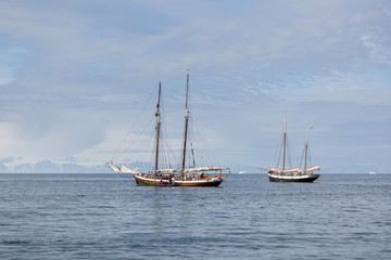 sailing ships at the harbour of  Ittoqqortoormiit, eastern Greenland