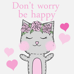 "Greeting card ""Don't worry be happy"" cat with flowers"
