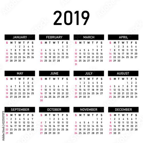 2019 Year Calendar Template Simple Minimalism Calendar Style White