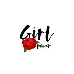 Girl power handwritten lettering red rose