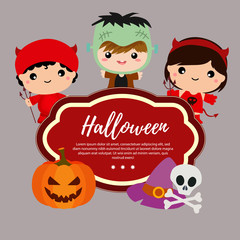 cute template halloween with devil costume kids