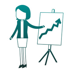 Businesswoman with statistics on whiteboard blue lines