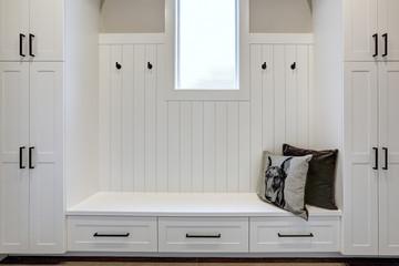 White clean hallway in luxury modern house