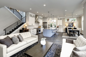 Large modern luxury living room interior in Bellevue home.