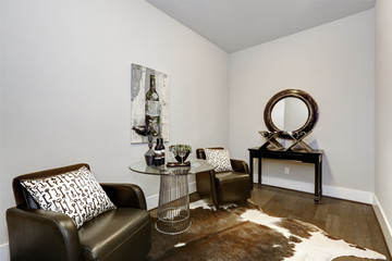 Wine modern testing room interior with lether armchairs and hardwood floor