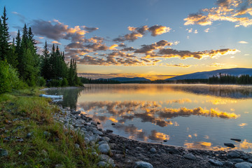 Boya Lake is a camping and water sport destination along the Cassiar highway in Northern British Columbia