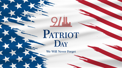 Patriot day USA Never forget 9.11 vector poster. Patriot Day, September 11, We will never forget Wall mural
