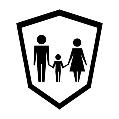 family silhouette in shield isolated icon